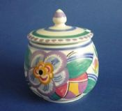 Poole Pottery V Pattern 'Leo the Lion' Preserve Pot by Truda Carter c1935